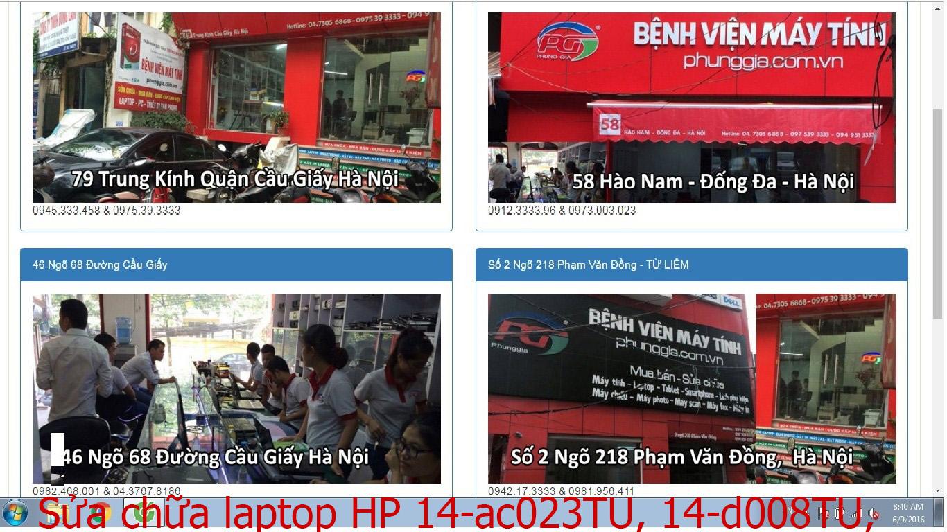 sửa chữa laptop HP 14-ac023TU, 14-d008TU, 14-d009TU