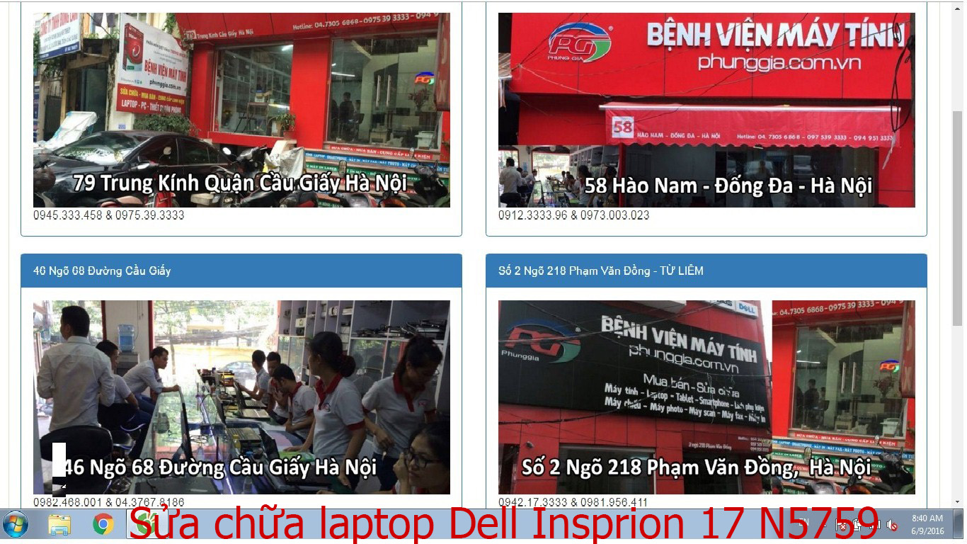 sửa chữa laptop Dell Insprion 17 N5759, Latitude 10, 15 3550, 2100